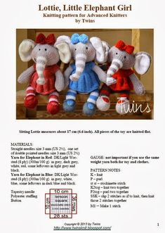 Twins' Knitting Pattern MiniShop: Lottie, Little Elephant Girl Knitted Bunnies, Knitted Animals, Knitted Dolls, Crochet Dolls, Knitting Basics, Baby Knitting, Knitting Toys, Amigurumi Elephant, Animal Knitting Patterns