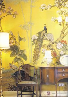 For the feature wall - keeping it warm; brining in nature (double height wall) CHINA CLASSIC: QK1 Misha handmadewallpaper