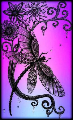 Dragonfly Quotes, Dragonfly Tattoo Design, Dragonfly Art, Dragonfly Painting, Dragon Fly Craft, Ink Art, Illustrations, Body Art Tattoos, Coloring Pages
