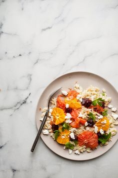 the kosher spoon : fresh mozzarella winter orzo salad with roasted grapefruit and tangerine
