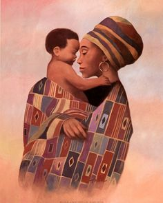 Family Values Woman ~ Fine-Art Print - African Culture Art Prints and Posters - African Culture Pictures Arte Black, African American Artwork, Afrique Art, African Paintings, Black Love Art, Black Artwork, Afro Art, Pics Art, Mother And Child