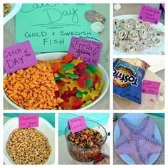 Beach Birthday Party: her simple snacks are cutely displayed!