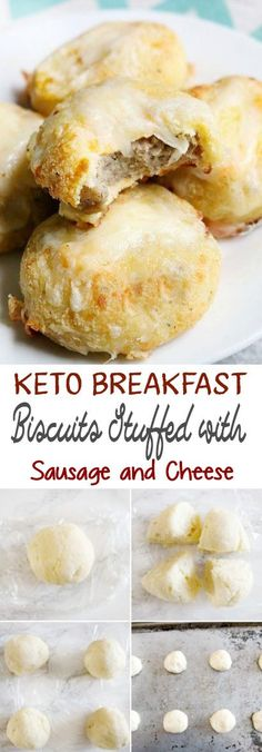 Keto breakfast biscuits stuffed with sausage and cheese appetizers dinners. Keto Diet List, Starting Keto Diet, Keto Diet Plan, Keto Meal, Keto Foods, Keto Snacks, Easy Snacks, Low Carb Keto, Low Carb Recipes