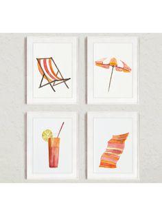Aquarell-Strand-Set von 4 Kunstdrucke. Baby Pink und Orange Set: Liegestuhl, Sonnenschirm, trinken Glas mit Zitrone und Stroh und Badetuch. Retro-Illustration-Wand-Dekor. Ein Preis ist für den Satz von 4 verschiedenen Beach-Art-Prints wie im ersten Bild.  Art von Papier: Drucke bis zu (42 x 29, 7cm), 11 X 16 Zoll Größe auf Archivierung Säure frei 270g/m2 weiß Aquarell Fine Artpapier gedruckt und behält das Aussehen des original-Gemälde. Größere Drucke werden auf 200 g/m2 weiß Semi-G...