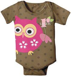 Owl Baby Onesie Personalized Girl's Brown by SimplySublimeBaby, $24.95