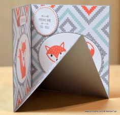 2016  VIDEO TUTORIAL   Corner Pop Up Card   Stamp Sets  - Barnyard Babies,  Foxy Friends,  Mixed Borders,  Ready to Pop