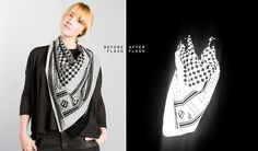 designed to ruin paparazzi photos, the betabrand flashback clothing collection is coated with highly-reflective glass nanospheres Paparazzi Photos, Betabrand, Alexander Mcqueen Scarf, My Style, How To Wear, Fashion Design, Outfits, Clothes, Sport Clothing