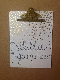 DIY Sorority Delta Gamma Clipboard Craft - gold dot confetti glitter white