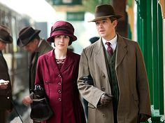 Mary & Matthew prepare to board the train from Downton to begin the family's trip to Duneagle Castle in Scotland to visit the MacClares, August 1921.