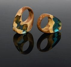 wood and resin ring. ocean blue on the right and green on the left.    http://ArtfulResin.etsy.com