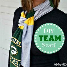 Today I'm sharing my DIY Team Scarf.  It's a great way to wear your Team colors.  I hope you stop by and check out the tutorial at VMG206. #goteam #sewing #scarf