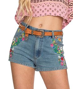 26f38ead9d8 Tengo Womens High Waist Colorful Embroidered Denim Shorts (32) at Amazon  Women s Clothing store