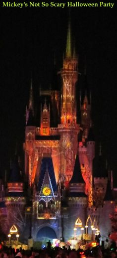 Special lighting effects on Cinderella's Castle during Mickey's Not So Scary Halloween Party in the Magic Kingdom at Disney World.  For Mickey's Not So Scary Halloween Party tips & information, see: http://www.buildabettermousetrip.com/mickeys-not-so-scary-halloween-party-tips