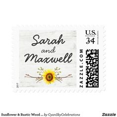 Sunflower & Rustic Wood Farm Wedding Invitation Postage by CyanSkyCelebrations on Zazzle
