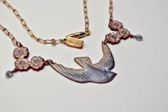 BLUE BIRD  Vintage Swallow Charm Necklace by LeighLuna on Etsy, $44.00