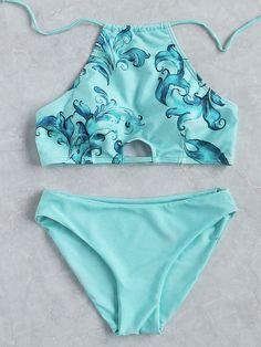 ¡Cómpralo ya!. Turquoise Floral Print Halter Bikini Set. Blue Bikinis Sexy Vacation Halter Top Nylon/Spandex YES Print Swimwear. , bikini, bikini, biquini, conjuntosdebikinis, twopiece, bikini, bikini, bikini, bikini, bikinis. Bikini de mujer color turquesa de SheIn.