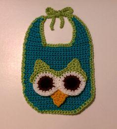 Owl Baby Bib Handmade Crochet