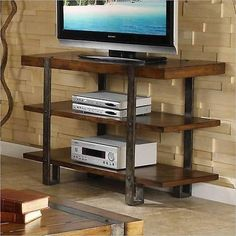 Rustic Wood and Metal TV Stand Entertainment Center Shelf Console Table Decor | eBay
