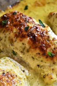 "Creamy Baked Asiago Chicken Breasts | ""Easy, delicious, and cheesy chicken breasts--with plenty of Asiago flavor! Add a touch of black pepper, balsamic vinegar, and additional Asiago cheese just before serving for the best results."" #dinnerideas #dinnerrecipes #dinnerdishes #familydinnerideas #chicken #chickenrecipes #chickenbreast #chickenbreastrecipes"
