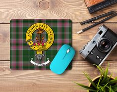 Rubber mousemat with Gray clan crest and tartan - only from ScotClans