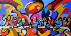 the last supper on pop art by aurea seganfredo - oil on canvas - 2013 Arte Pop, Pop Art, Last Supper Art, Jesus Art, Sacred Art, Christian Art, Religious Art, Urban Art, Les Oeuvres