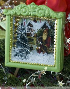 Dreaming Of A White Christmas Shadowbox - Create a vintage Christmas scene with old-fashioned Santa clipart, a bottlebrush tree, and faux snow. Miniature Christmas, Christmas Minis, Christmas Projects, Winter Christmas, All Things Christmas, Vintage Christmas, Christmas Holidays, Christmas Decorations, Christmas Ornaments