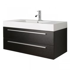 The Caracas Black Wood Wall Mounted Vanity Unit and Basin is a bathroom furniture piece finished in an eye-catching black wood. Bathroom Collections, Black Wood, Minimalism Interior, Wall Mounted Sink, Sleek Bathroom, Wall Mounted Vanity, Vanity Units, Bathroom Furniture, Bathroom