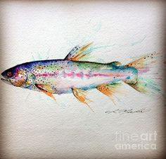 Shop for trout art from the world's greatest living artists. All trout artwork ships within 48 hours and includes a money-back guarantee. Choose your favorite trout designs and purchase them as wall art, home decor, phone cases, tote bags, and more! Gouache Painting, Watercolor Paintings, Fish Paintings, Watercolours, Trout Tattoo, Salmon Tattoo, Tattoo Fish, Fish Drawings, Kunst Poster