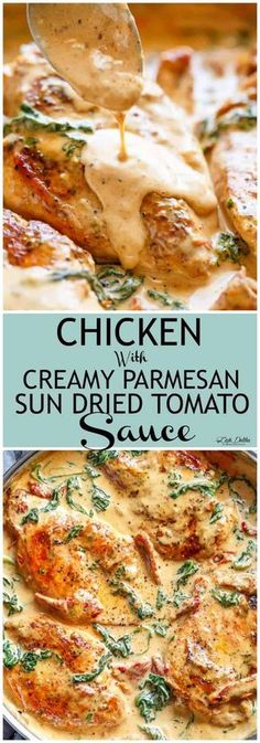 Chicken with Creamy Sun Dried Tomato Parmesan Sauce - Cafe Delites Dinner Recipes for weight loss Tuscan Garlic Chicken, Creamy Chicken, Low Carb Recipes, Cooking Recipes, Healthy Recipes, Dip Recipes, Sun Dried Tomato Sauce, Tomato Cream Sauces, Eat Better