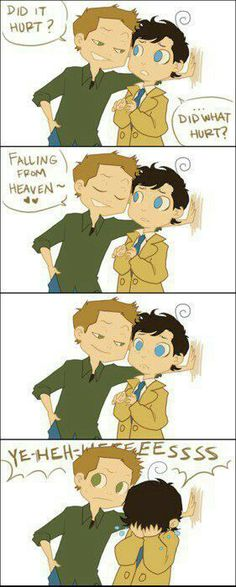 Deans over there trying to be smooth and awh! Poor Cas!!