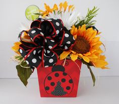 Ladybugs and Sunflowers silk flower arrangement spring bouquet summer bouquet happy birthday flowers thank you flowers Inexpensive Flower Arrangements, Silk Floral Arrangements, Thank You Flowers, Mothers Day Flowers, Sunflower Bouquets, Floral Bouquets, Happy Birthday Flower, Birthday Ideas, Spring Bouquet