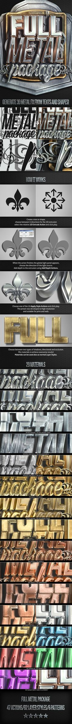Full Metal Package 3D - Photoshop Actions by Nuwan Panditha, via Behance