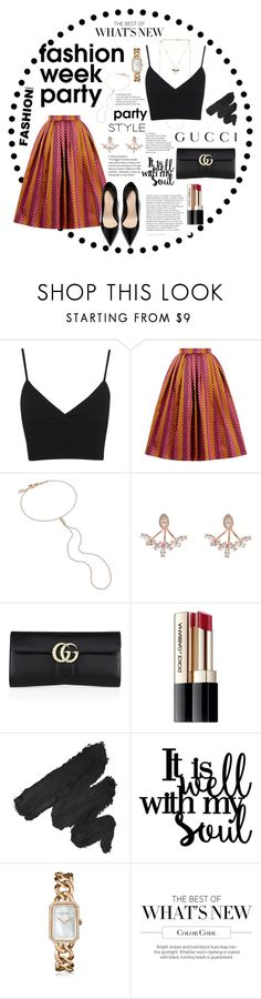 """""""Fashion week partyyyy"""" by shahadmadhi95 ❤ liked on Polyvore featuring Gucci, Miss Selfridge, House of Holland, Jacquie Aiche, Wild Hearts, Dolce&Gabbana, NYX and Chanel"""