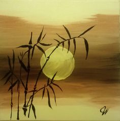 "Original Abstract Landscape Acrylic Art on canvas  ""Bamboo Afternoons"" by Jamie Whitaker"