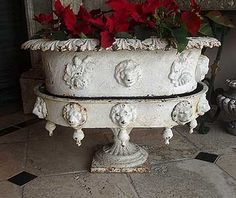 19th Century American Cast Iron Lions and Roses Two-piece Jardiniere - stunning!!!