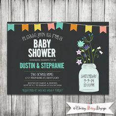 Chalkboard Mason Jar Baby Shower Invitation  by CherryBerryDesign