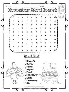 s download is perfect for K-2 students. It includes 2 versions of a November Thanksgiving word search.It's perfect for the students in the same class that are at different levels. Make it double sided or give the easy ones to certain kids and the more difficult ones to the higher achievers!