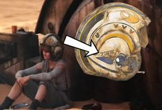 Rey helmet - this picture shows that Rey may not be her real name. The spelling on the helmet is raeh. The middle symbol mean ae. (All rights belong to original owners)