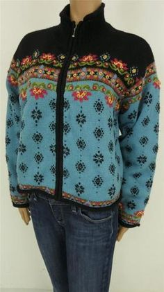 Icelandic Design Full Zip Colorful Lined Sweater Womens Large | eBay