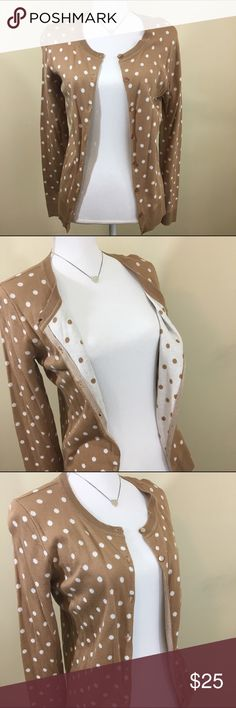 🚫 S O L D 🚫 Beautiful tan polka dot Cardigan from NY&C. NWT! Inside has reverse colors. Beautiful & elegant. Perfect for business casual or going out! New York & Company Sweaters Cardigans