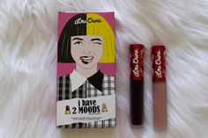 Here are swatches of the 2 Moods velvetines from Lime Crime. Lighter one is Marshmallow and darker one is Raven.