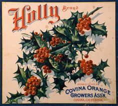 Holly Brand Vintage crate label Christmas PRINTABLE  free