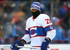 1.1.16 - 2016 Bridgestone NHL Winter Classic - Montreal Canadiens vs. Boston Bruins FOXBORO, MA - JANUARY 01: Devante Smith-Pelly #21 of the Montreal Canadiens warms up prior to the 2016 Bridgestone NHL Winter Classic against the Boston Bruins at Gillette Stadium in Foxboro, Massachusetts. (Photo by Maddie Meyer/Getty Images)