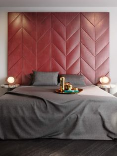 Be amazed by this contemporary London apartment decorated by Tom Dixon Bedroom Inspirations, Interior Design, Bedroom Interior, Bedroom Headboard, Hotel Room Design, Interior, Bedroom Red, Bed Design, Apartment Decor