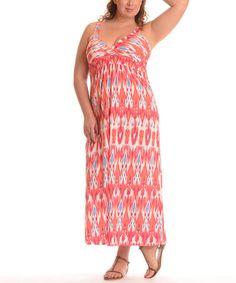 Look at this #zulilyfind! Coral Ikat Empire-Waist Maxi Dress - Plus by Shoreline #zulilyfinds
