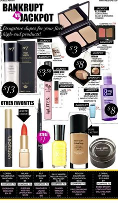 Jackpot: Drugstore Duplicates for Your Fave High-End Makeup Bankrupt vs. Jackpot: Drugstore Duplicates for Your Fave High-End Makeup! - The Beauty ThesisBankrupt vs. Jackpot: Drugstore Duplicates for Your Fave High-End Makeup! - The Beauty Thesis Beauty Make-up, Beauty Dupes, Beauty Secrets, Beauty Hacks, Hair Beauty, Beauty Products, Makeup Products, Hd Make Up, Eyeliner