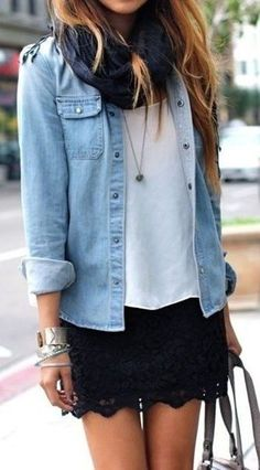 #fall #outfits / scarf + denim