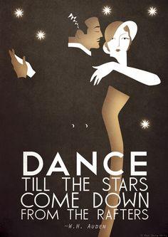 Art Deco A3 Poster Print Dance Tango, Bauhaus, Vintage, WH Auden Romantic Quote