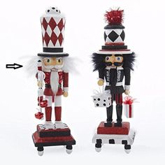 13 Hollywood Red Black and White Glitter Base Wooden Christmas Nutcracker *** Check out this great product.