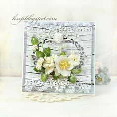 Hello everyone For today I prepared a simple card with wood textured background and a bouquet of white flowers. I used hellebores, cosmos daisies and hop rosebuds.   Thank you very much for stopping b
